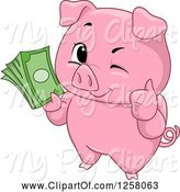 Swine Clipart of Cute Winking Pig Holding a Thumb up and Cash by BNP Design Studio