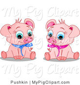 Swine Clipart of Cute Young Male and Female Pigs Wearing Blue and Pink Ribbons, Sitting and Smiling by Pushkin