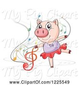 Swine Clipart of Dancing Ballerina Pig and Music Notes by Graphics RF