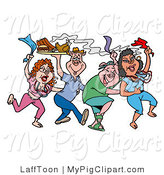 Swine Clipart of Dancing Mardi Gras Pink Pigs Holding up a Tray of Bbq Meat by LaffToon