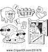 Swine Clipart of Digital Collage of Outlined Farm Animals by Visekart