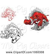 Swine Clipart of Digital Collage of Razorback Boar Logos - 1 by Vector Tradition SM
