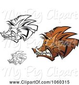 Swine Clipart of Digital Collage of Razorback Boar Logos - 2 by Vector Tradition SM