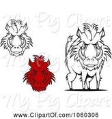 Swine Clipart of Digital Collage of Razorback Boar Logos - 3 by Vector Tradition SM