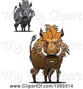 Swine Clipart of Digital Collage of Razorback Boar Logos - 4 by Vector Tradition SM