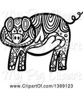Swine Clipart of Doodled Black and White Pig by Prawny