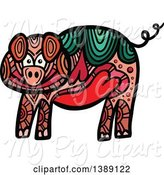 Swine Clipart of Doodled Pig by Prawny