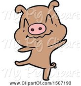 Swine Clipart of Drunk Pig by Lineartestpilot