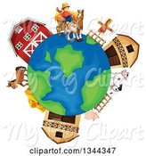 Swine Clipart of Earth Globe with a Farmer, Livestock and Barns by Graphics RF