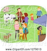 Swine Clipart of Families Viewing Farm Animals at an Expo Event by BNP Design Studio