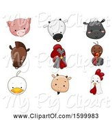 Swine Clipart of Farm Animal Faces by BNP Design Studio