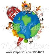 Swine Clipart of Farm Globe with a Barn, Windmill, Farmer and Livestock by Graphics RF