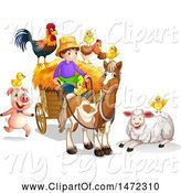 Swine Clipart of Farmer Boy with Animals and a Cart by Graphics RF
