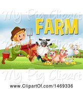 Swine Clipart of Farmer Boy with Animals and Text by Graphics RF