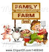 Swine Clipart of Farmer Boy with Animals, Food and Signs by Graphics RF
