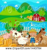 Swine Clipart of Farmer Boy with His Animals by Graphics RF