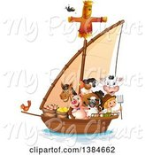 Swine Clipart of Farmer Boy with Livestock on a Boat by Graphics RF