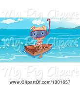 Swine Clipart of Female Snorkel Pig in a Bikini, Standing in a Boat by Graphics RF
