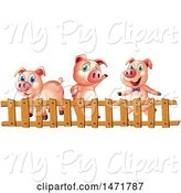 Swine Clipart of Fence and Three Pigs by Graphics RF
