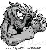 Swine Clipart of Fighting Boar Mascot by Chromaco