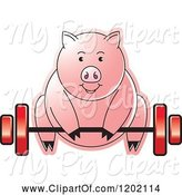 Swine Clipart of Fit Pig Exercising and Lifting a Barbell by Lal Perera