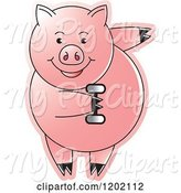 Swine Clipart of Fit Pig Exercising with a Dumbbell by Lal Perera