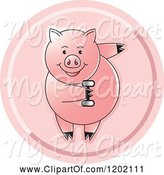 Swine Clipart of Fit Pig Exercising with a Dumbbell Icon by Lal Perera