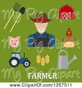 Swine Clipart of Flat Design White Male Farmer with Equipment and Livestock over Text on Green by Vector Tradition SM