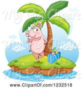 Swine Clipart of Flirty Pig on a Tropical Island by Graphics RF