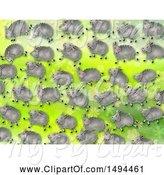 Swine Clipart of Flock of Sheep on a Green Watercolor Background by Prawny