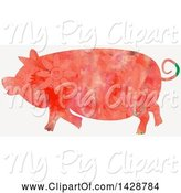 Swine Clipart of Floral Patterned Watercolor Pig by Prawny