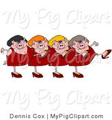 Swine Clipart of Four Pink Female Pigs in Dresses, Heels and Wigs, Kicking Their Legs up While Dancing in a Chorus Line by Djart