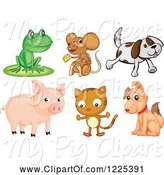 Swine Clipart of Frog Mouse Dog Pig and Cat by Graphics RF