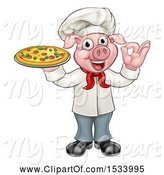 Swine Clipart of Full Length Chef Pig Gesturing Perfect and Holding a Pizza by AtStockIllustration