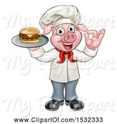 Swine Clipart of Full Length Chef Pig Holding a Cheese Burger on a Tray and Gesturing Okay by AtStockIllustration