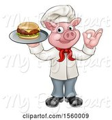Swine Clipart of Full Length Chef Pig Holding a Cheeseburger on a Tray and Gesturing Okay by AtStockIllustration
