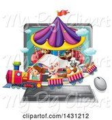 Swine Clipart of Girl and Animals on a Carnival Train Emerging from a Computer by Graphics RF