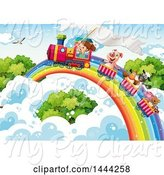 Swine Clipart of Girl and Animals Riding a Train on a Rainbow by Graphics RF