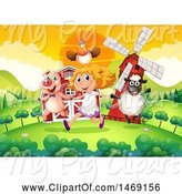 Swine Clipart of Girl Running with Farm Animals by Graphics RF