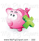 Swine Clipart of Green X Mark over an Empty Pink Piggy Bank by Beboy