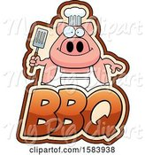 Swine Clipart of Grilling Chef Pig Holding a Spatula over Bbq Text by Cory Thoman