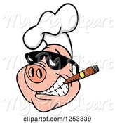 Swine Clipart of Grinning Pig in a Chefs Hat and Sunglasses, Smoking a Cigar by LaffToon