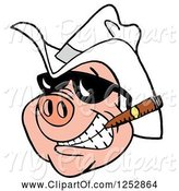 Swine Clipart of Grinning Pig Smoking a Cigar and Wearing a Cowboy Hat by LaffToon