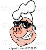 Swine Clipart of Grinning Pig Wearing a Chefs Hat and Shades by LaffToon