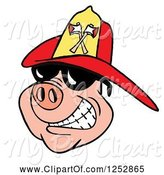 Swine Clipart of Grinning Pig Wearing Shades and a Red Fire Hat by LaffToon
