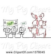 Swine Clipart of Group of Activists Protesting Animal Slaughtering by NL Shop
