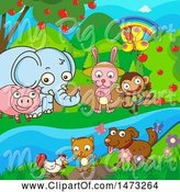 Swine Clipart of Group of Animals by Graphics RF