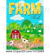Swine Clipart of Group of Farm Animals and Farm Fresh Text by Graphics RF