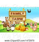 Swine Clipart of Group of Farm Animals and Sign by Graphics RF