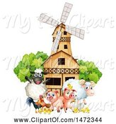Swine Clipart of Group of Farm Animals in Front of a Windmill Barn by Graphics RF